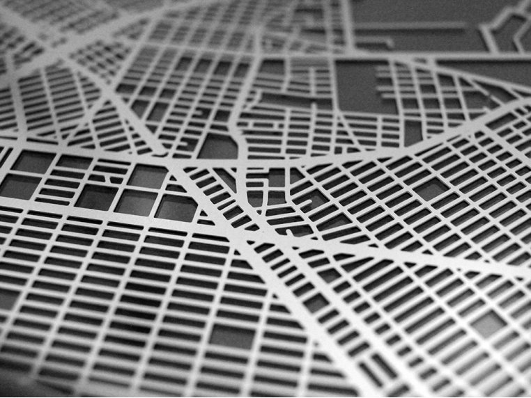 Stainless Steel City Map by Cut Maps - 4