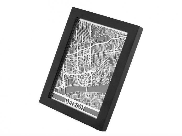 Stainless Steel City Map by Cut Maps - 80