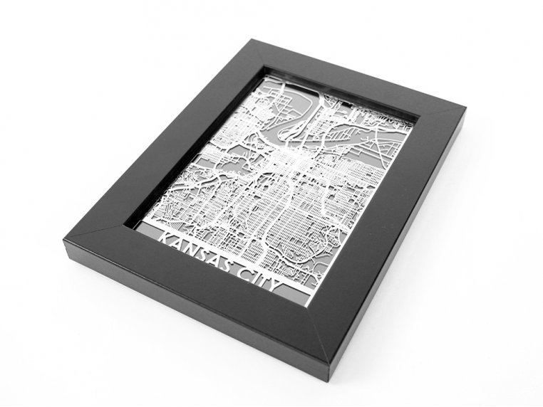 Stainless Steel City Map by Cut Maps - 81
