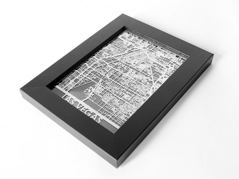 Stainless Steel City Map by Cut Maps - 89