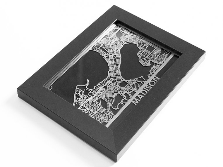 Stainless Steel City Map by Cut Maps - 90