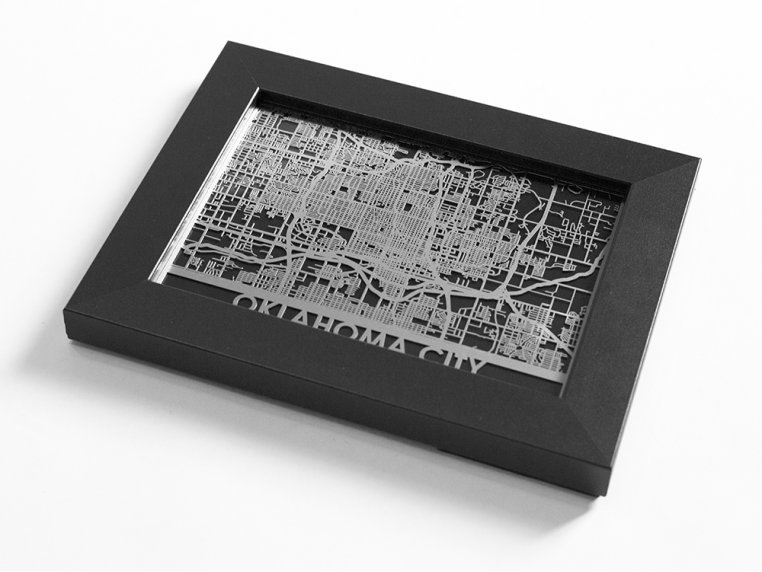 Stainless Steel City Map by Cut Maps - 91