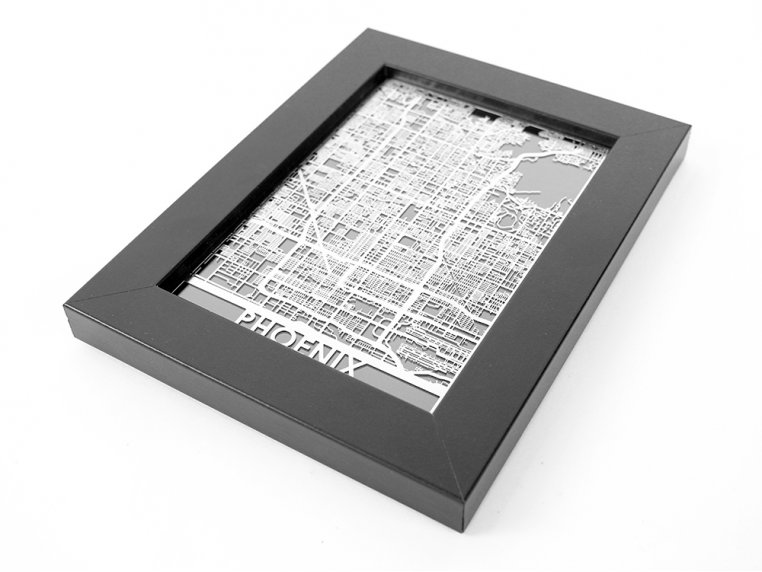Stainless Steel City Map by Cut Maps - 85