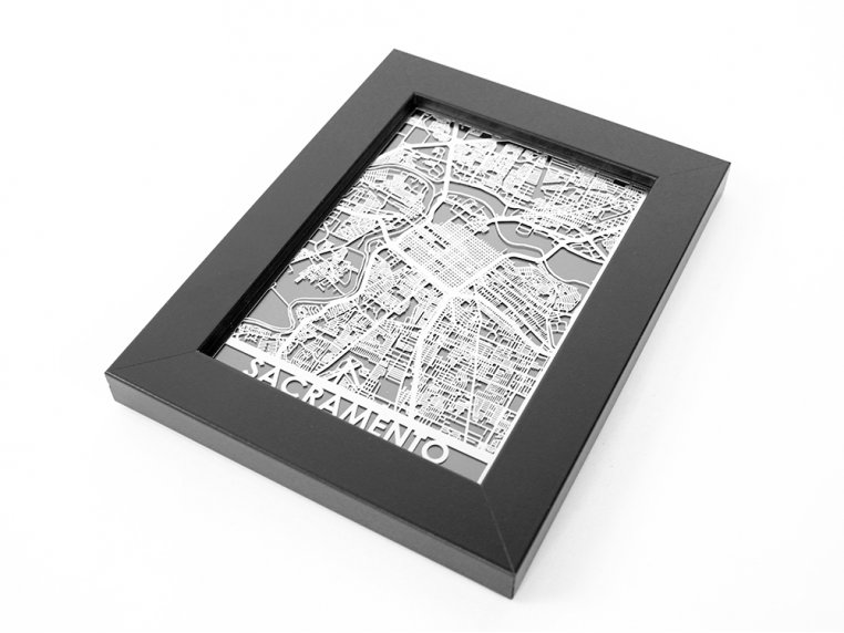 Stainless Steel City Map by Cut Maps - 93