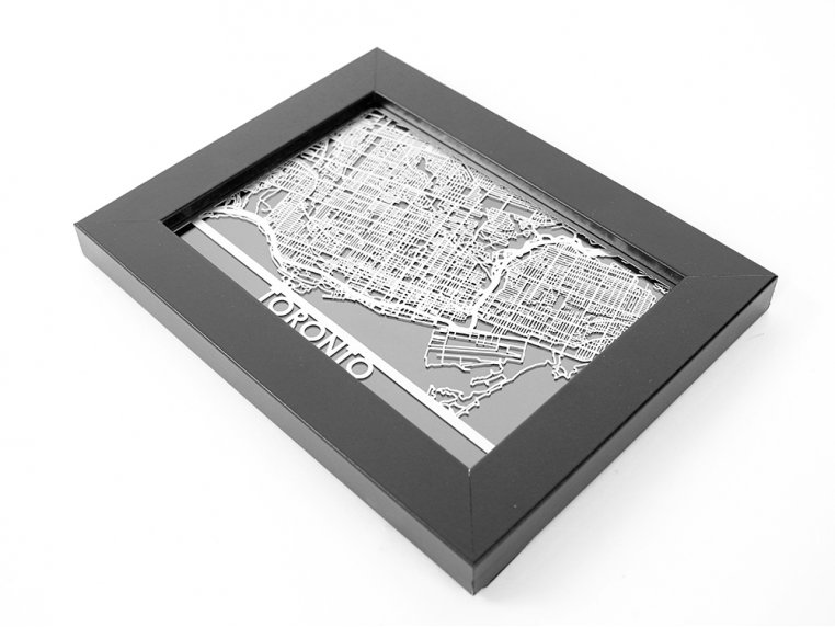 Stainless Steel City Map by Cut Maps - 87