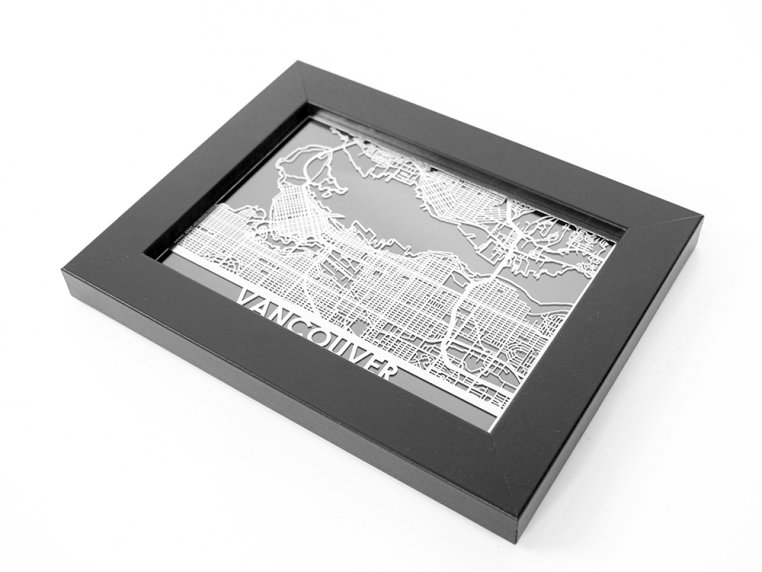 Stainless Steel City Map by Cut Maps - 88