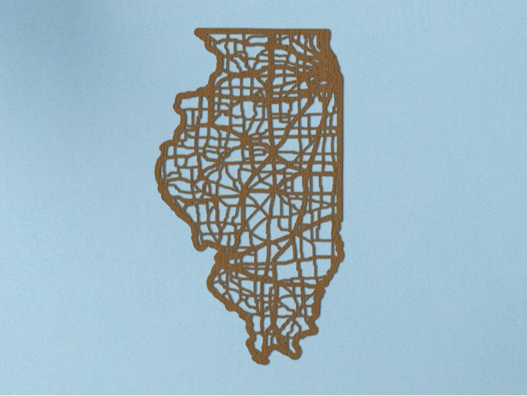 Oak State Map by Cut Maps - 13