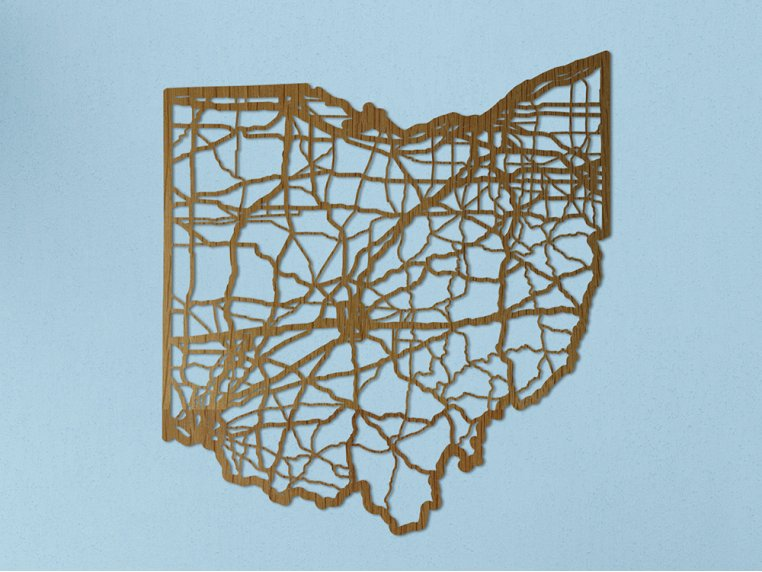 Oak State Map by Cut Maps - 26