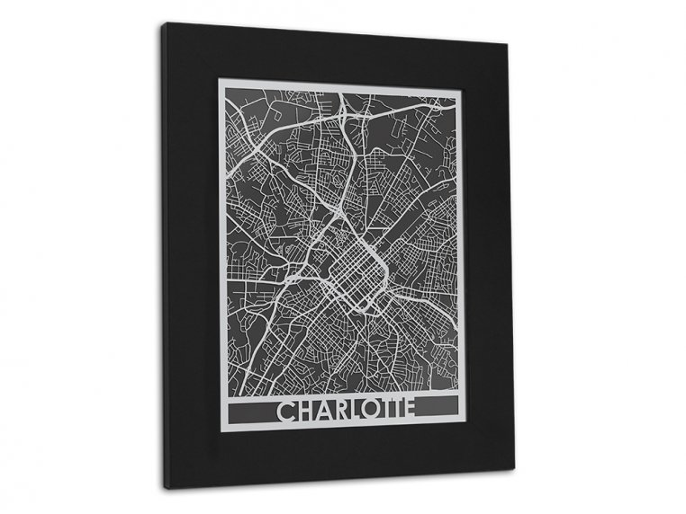 Stainless Steel City Map by Cut Maps - 105
