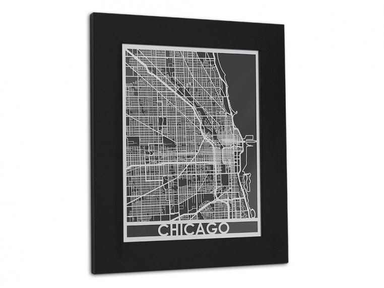 Stainless Steel City Map by Cut Maps - 108