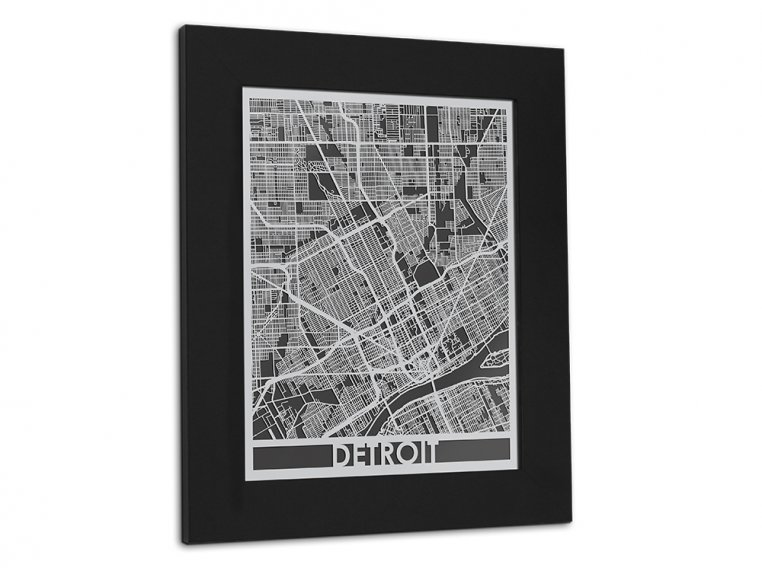 Stainless Steel City Map by Cut Maps - 101