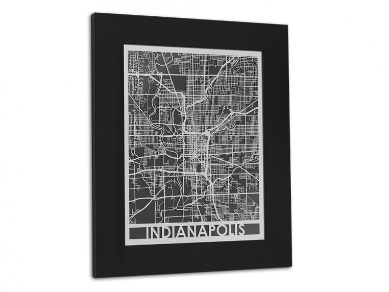 Stainless Steel City Map by Cut Maps - 104