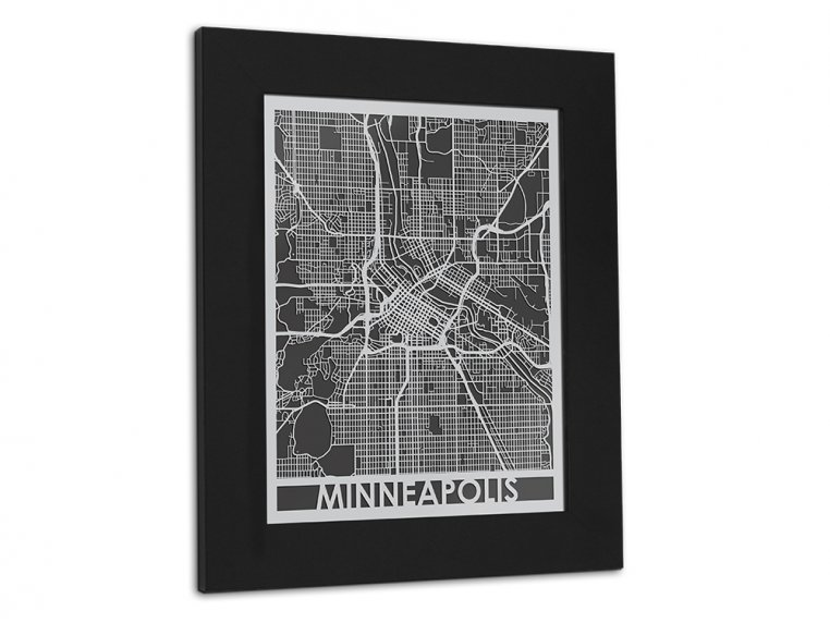 Stainless Steel City Map by Cut Maps - 120