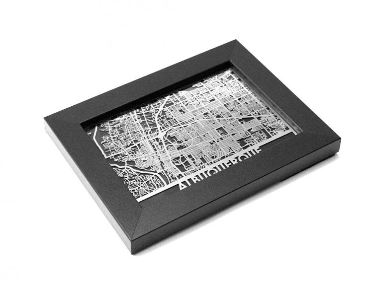 Stainless Steel City Map by Cut Maps - 124