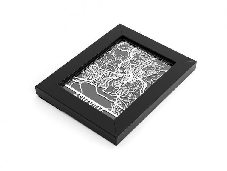 Stainless Steel City Map by Cut Maps - 125