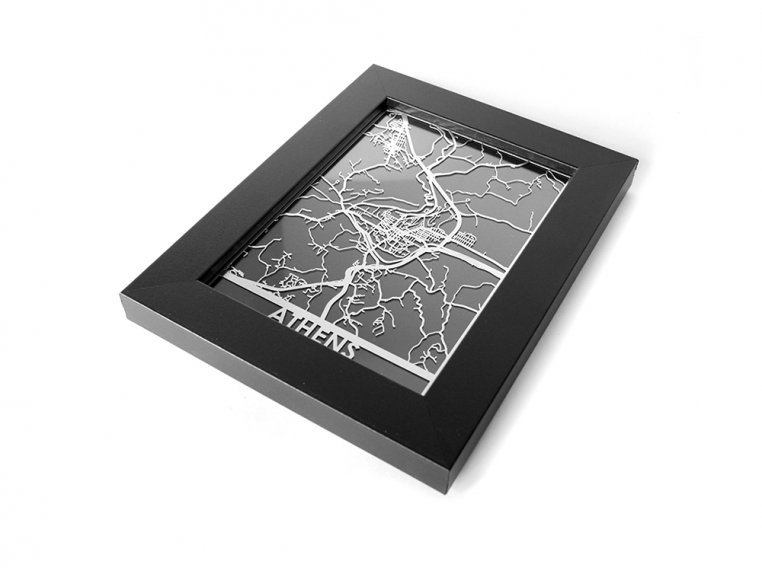 Stainless Steel City Map by Cut Maps - 126