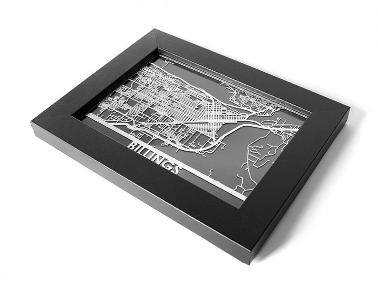Stainless Steel City Map by Cut Maps - 136