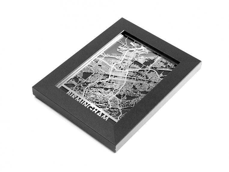 Stainless Steel City Map by Cut Maps - 128