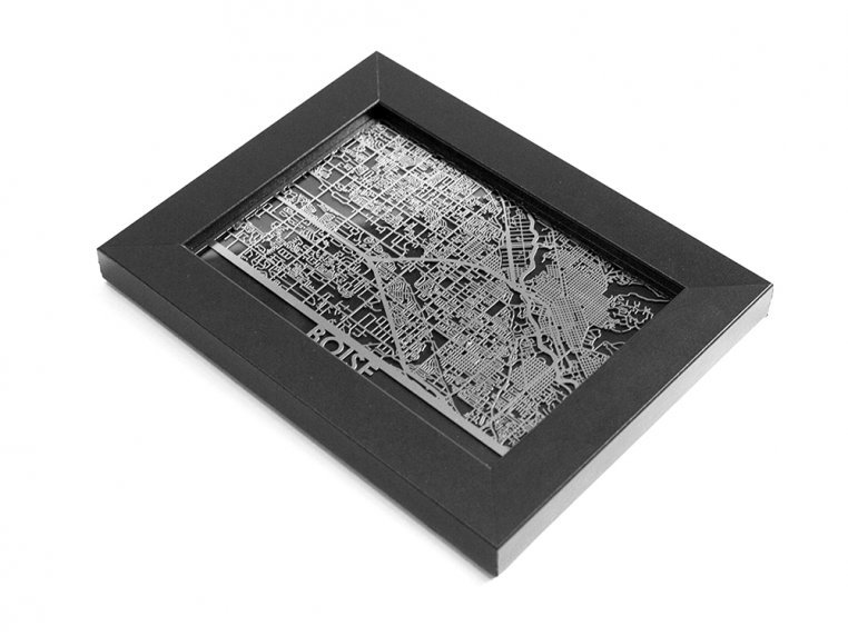 Stainless Steel City Map by Cut Maps - 129