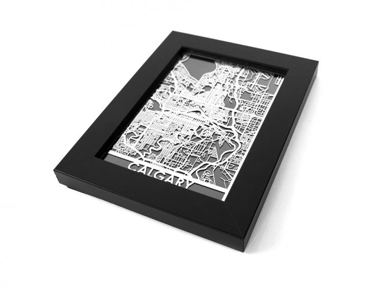 Stainless Steel City Map by Cut Maps - 130