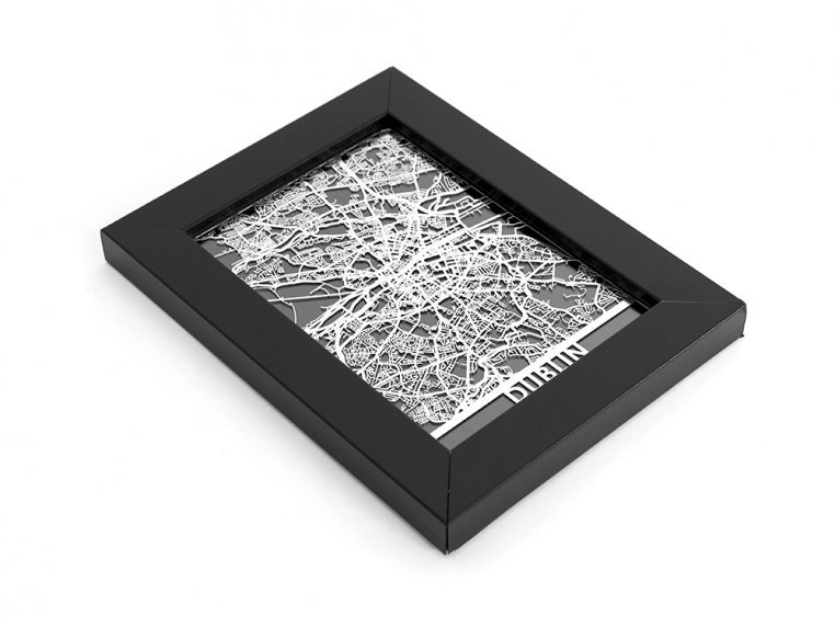 Stainless Steel City Map by Cut Maps - 143