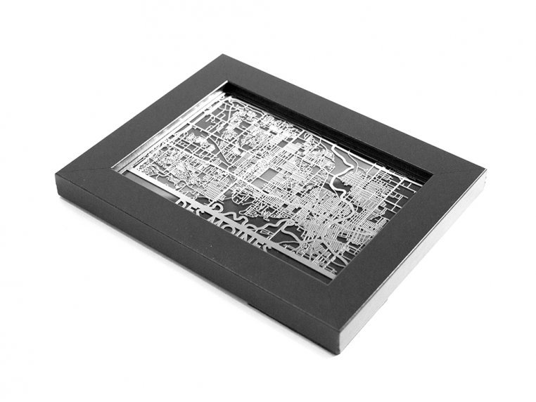 Stainless Steel City Map by Cut Maps - 135