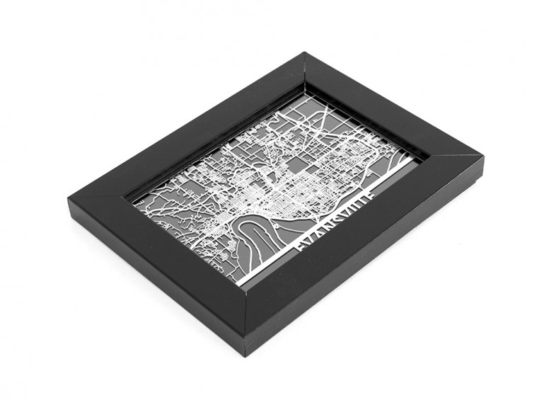 Stainless Steel City Map by Cut Maps - 147