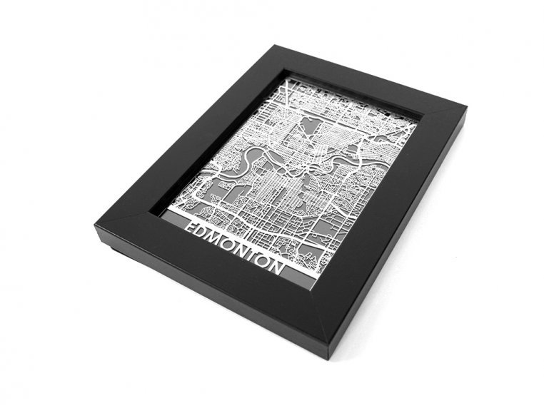 Stainless Steel City Map by Cut Maps - 148