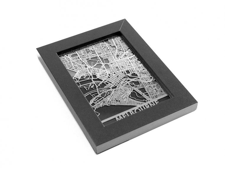 Stainless Steel City Map by Cut Maps - 142