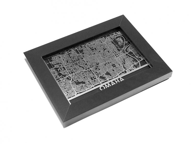 Stainless Steel City Map by Cut Maps - 154