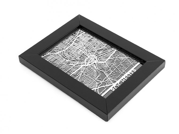Stainless Steel City Map by Cut Maps - 157