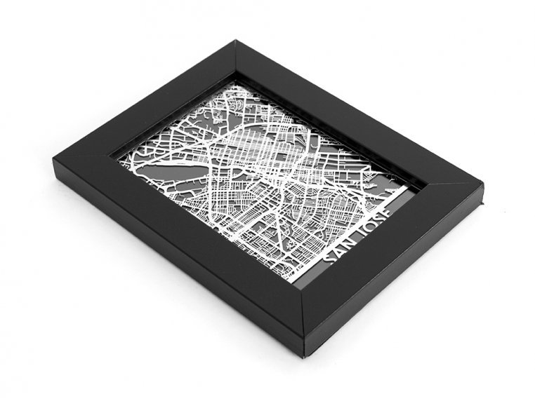 Stainless Steel City Map by Cut Maps - 165