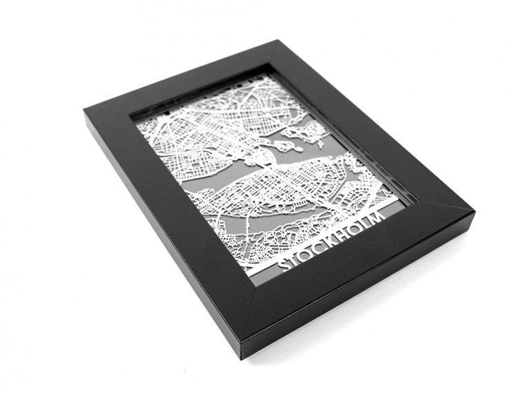 Stainless Steel City Map by Cut Maps - 162
