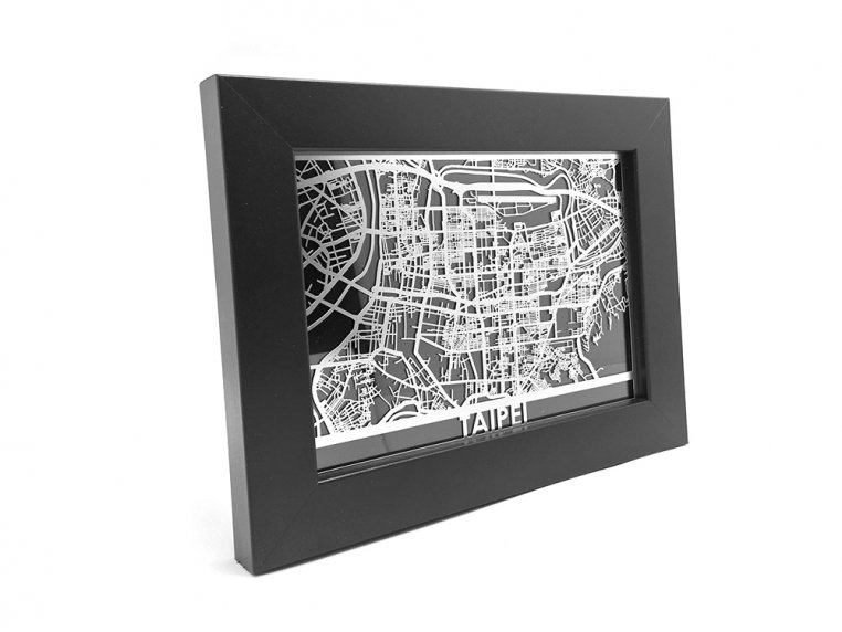 Stainless Steel City Map by Cut Maps - 163