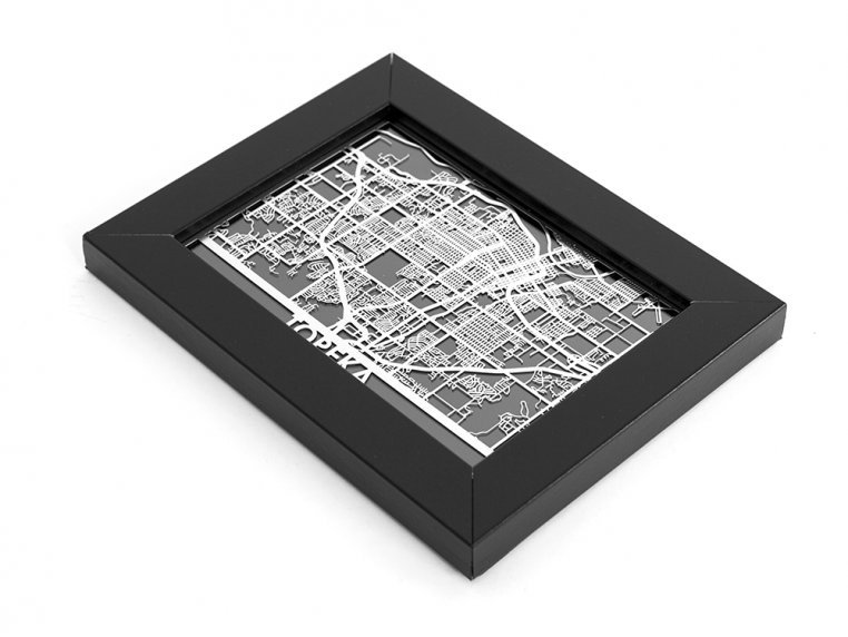 Stainless Steel City Map by Cut Maps - 155