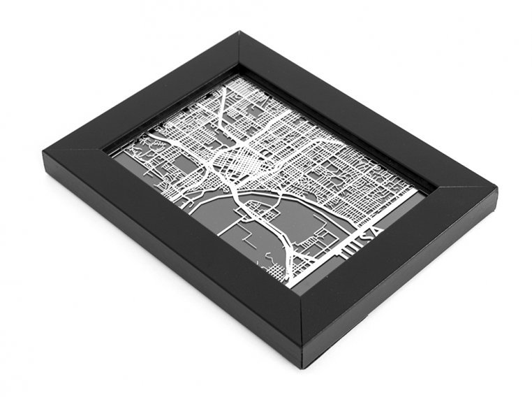 Stainless Steel City Map by Cut Maps - 166