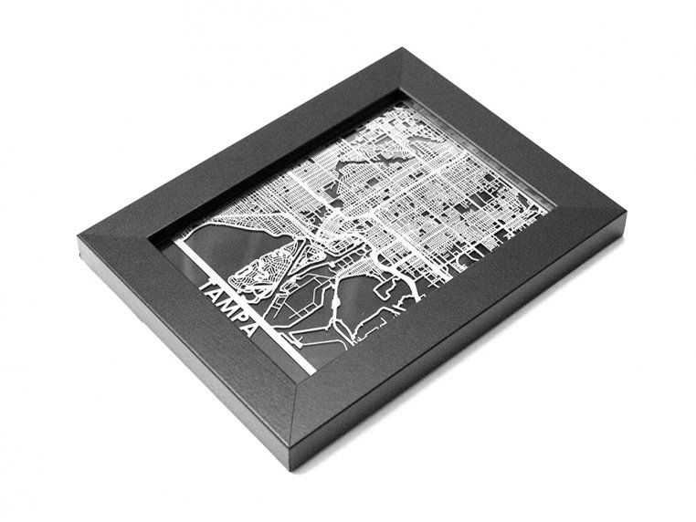 Stainless Steel City Map by Cut Maps - 172