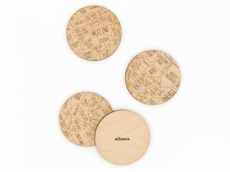 City Map Wooden Coasters by Neighborwoods - 3
