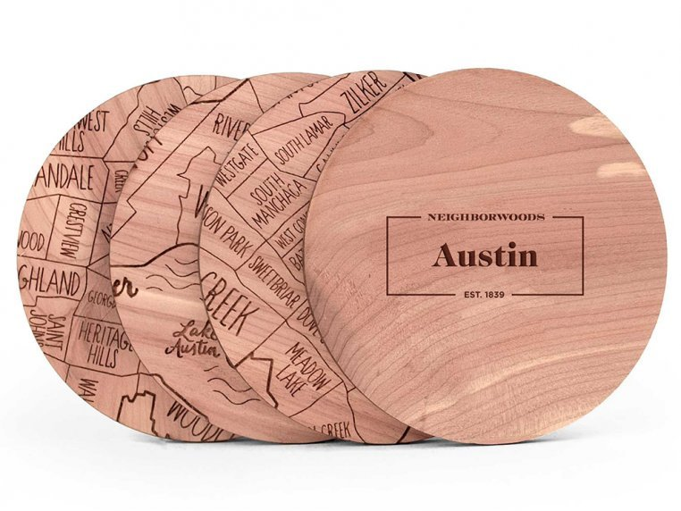 City Map Wooden Coasters by Neighborwoods - 7