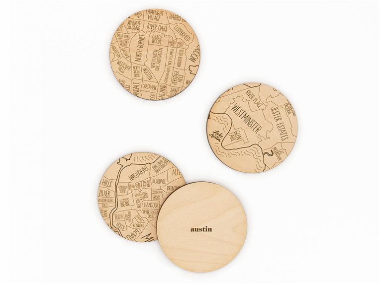City Map Wooden Coasters by Neighborwoods - 4