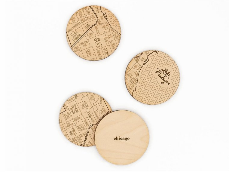 City Map Wooden Coasters by Neighborwoods - 10