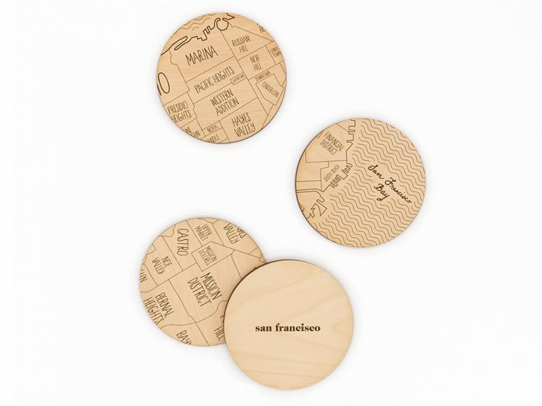 City Map Wooden Coasters by Neighborwoods - 27