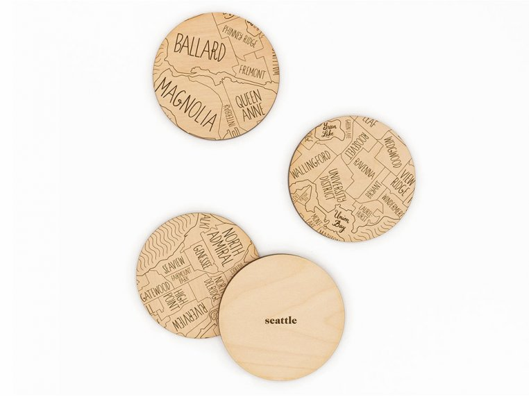 City Map Wooden Coasters by Neighborwoods - 28