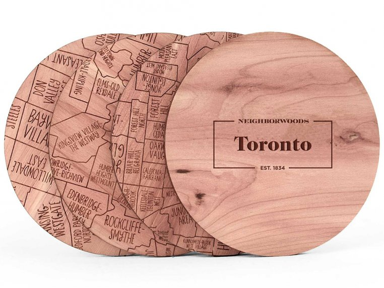 City Map Wooden Coasters by Neighborwoods - 34