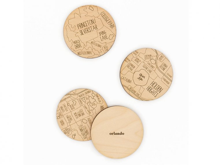 City Map Wooden Coasters by Neighborwoods - 35