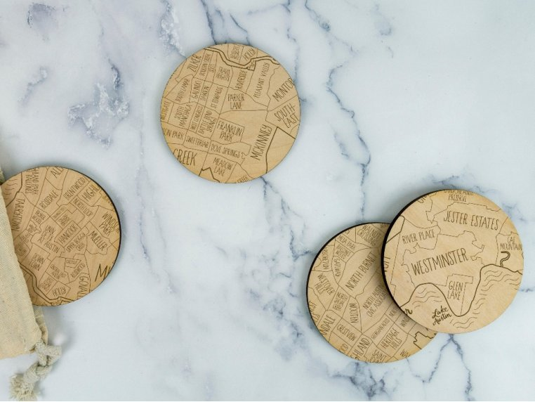 City Map Wooden Coasters by Neighborwoods - 2