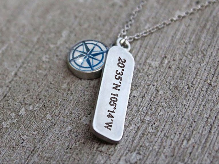 Handcrafted Compass Rose Necklace by CHART Metalworks - 1