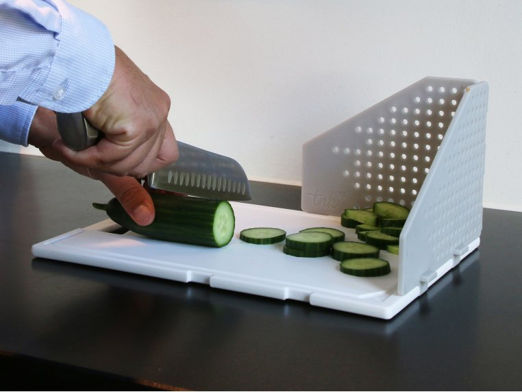 Cutting Board with Folding Strainer by TNK - 2
