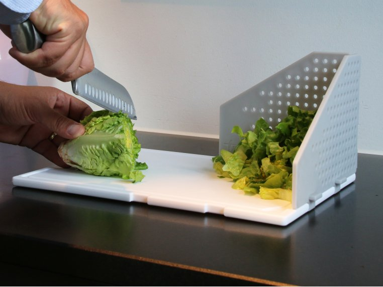 Cutting Board with Folding Strainer by TNK - 3