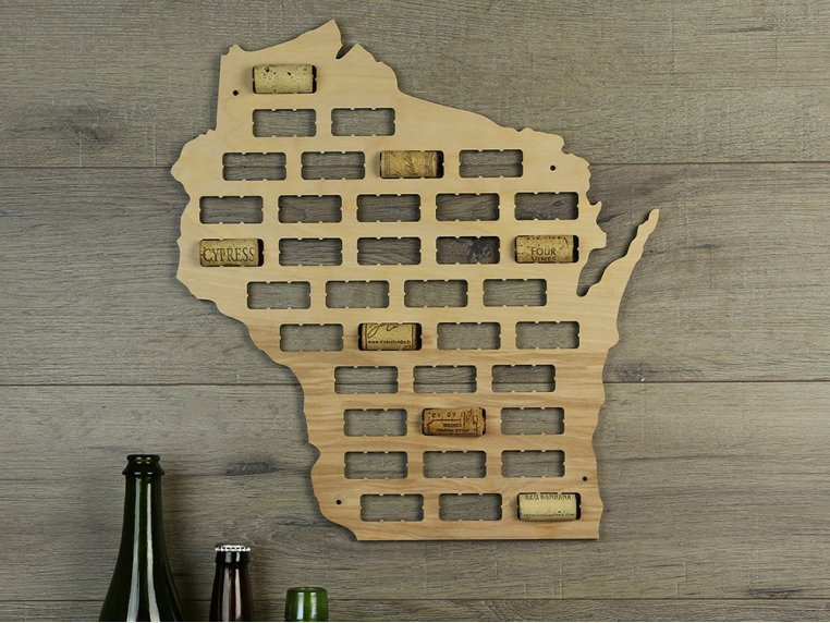 Choose Your State Wine Cork Map by Torched Products - 4